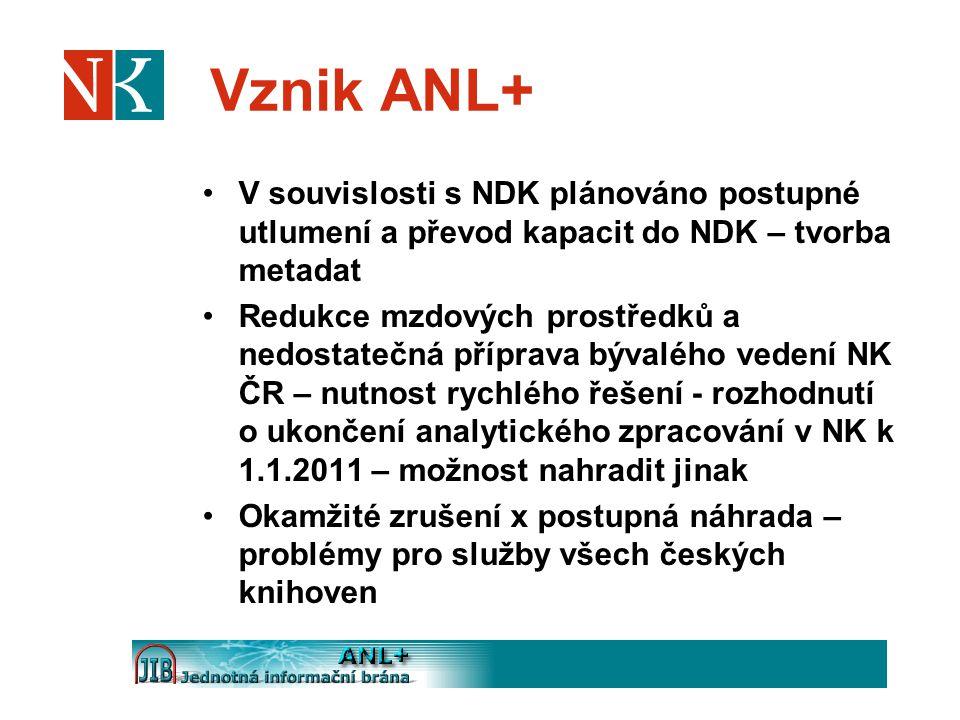 Vznik ANL+ V souvislosti s NDK plánováno postupné utlumení a převod kapacit do NDK – tvorba metadat.