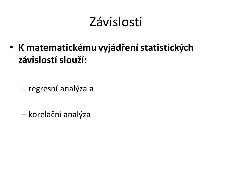 Závislosti K matematickému vyjádření statistických závislostí slouží:
