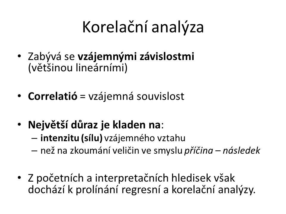 Korelační analýza Zabývá se vzájemnými závislostmi (většinou lineárními) Correlatió = vzájemná souvislost.