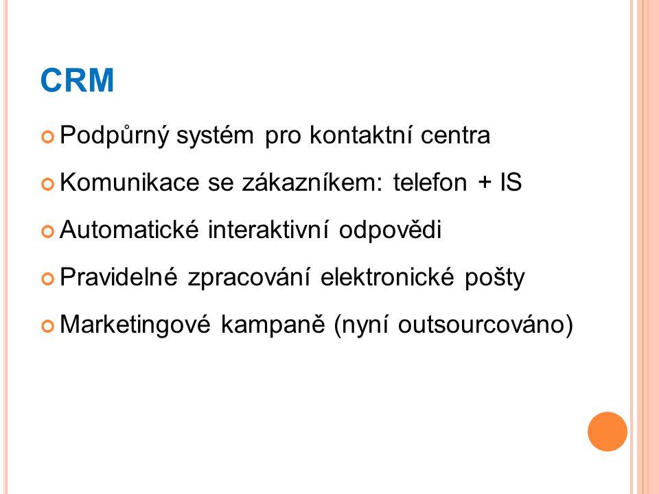 CRM Podpůrný systém pro kontaktní centra
