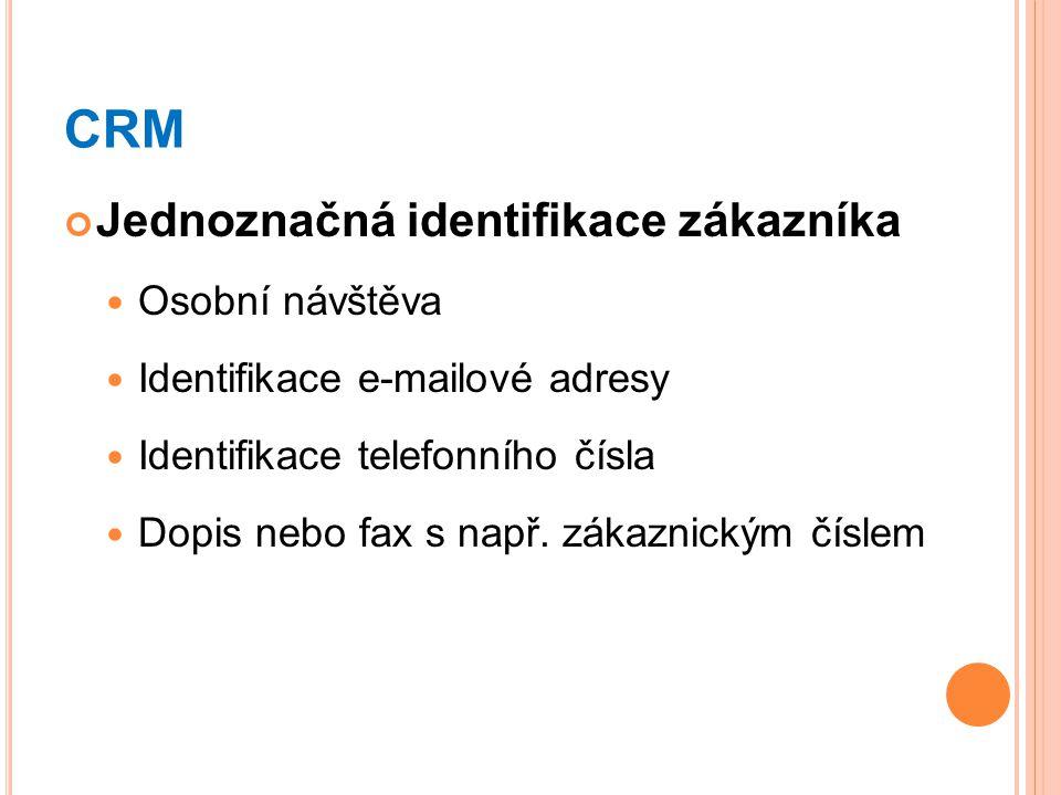 CRM Jednoznačná identifikace zákazníka Osobní návštěva