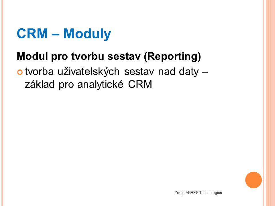 CRM – Moduly Modul pro tvorbu sestav (Reporting)