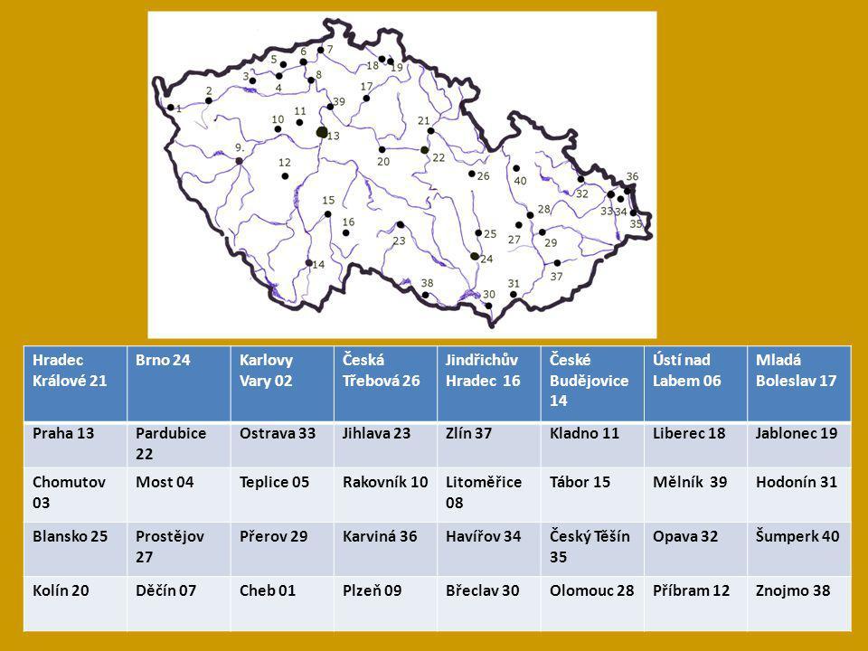 Hradec Králové 21 Brno 24. Karlovy Vary 02. Česká Třebová 26. Jindřichův Hradec 16. České Budějovice 14.