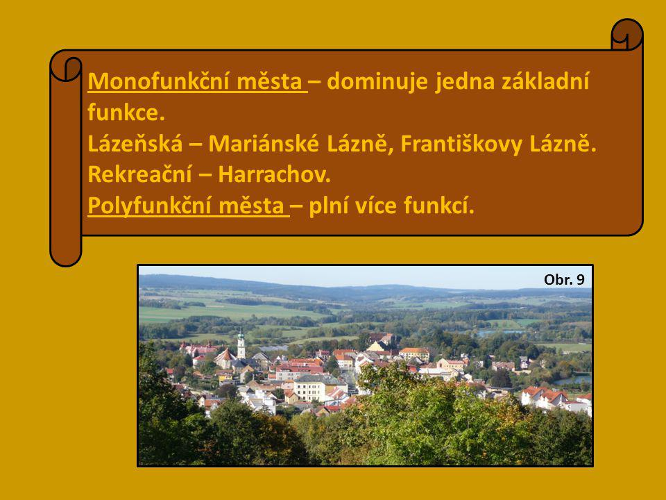 Monofunkční města – dominuje jedna základní funkce.