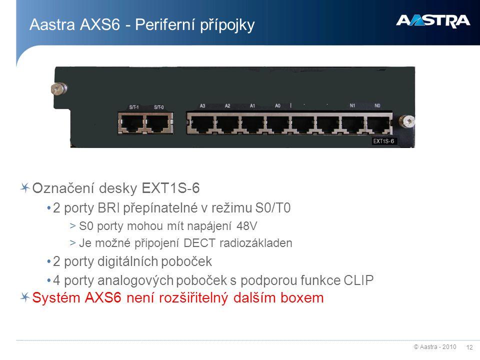 Aastra AXS6 - Periferní přípojky