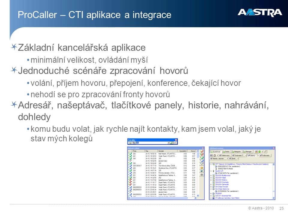 ProCaller – CTI aplikace a integrace