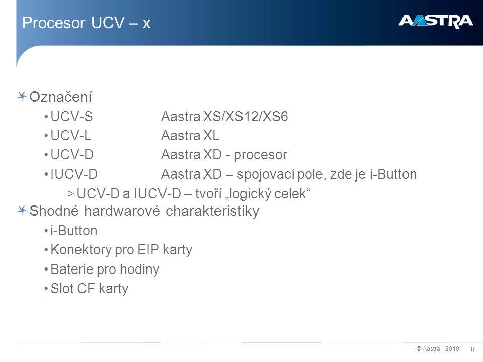 Procesor UCV – x Označení Shodné hardwarové charakteristiky