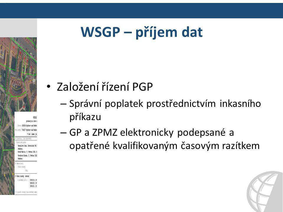 WSGP – příjem dat Založení řízení PGP