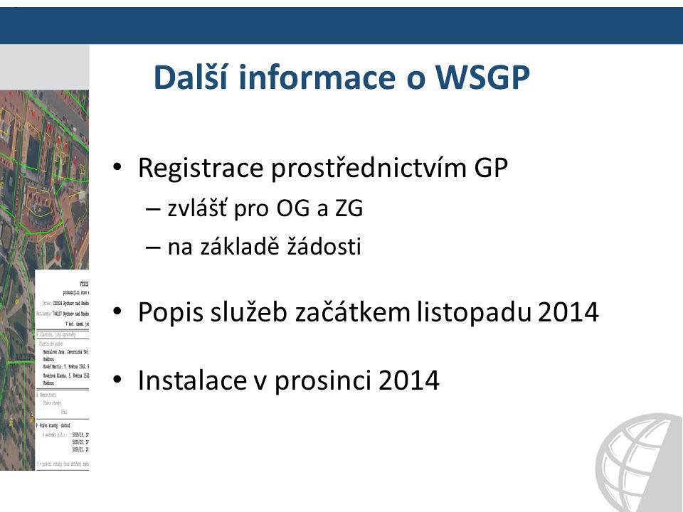 Další informace o WSGP Registrace prostřednictvím GP
