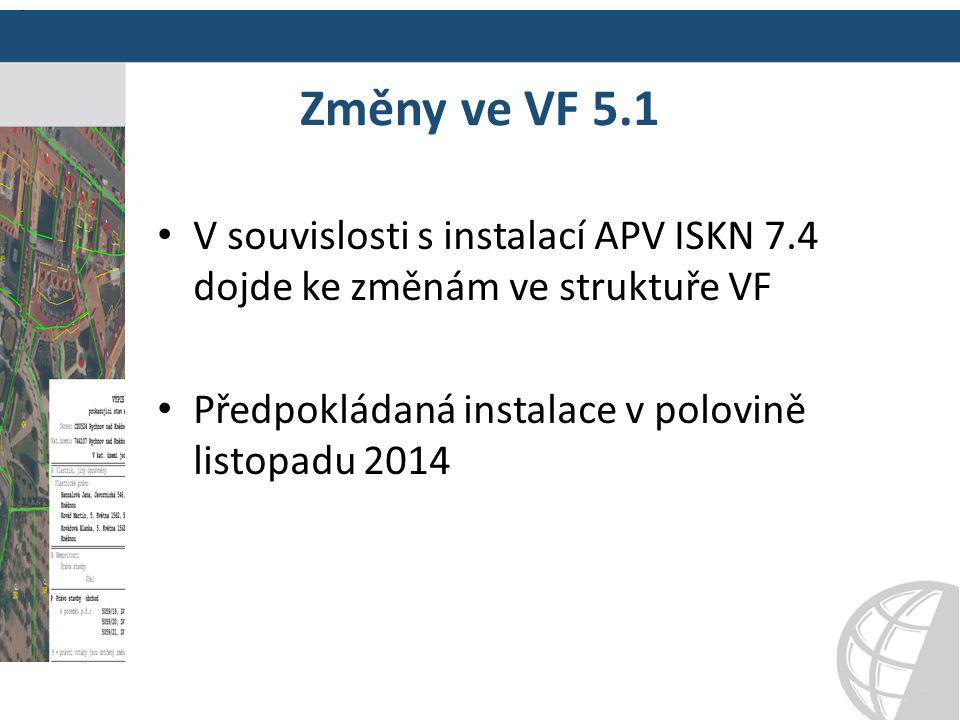 Změny ve VF 5.1 V souvislosti s instalací APV ISKN 7.4 dojde ke změnám ve struktuře VF.