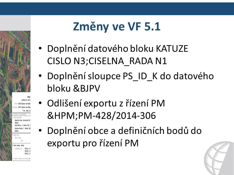Změny ve VF 5.1 Doplnění datového bloku KATUZE CISLO N3;CISELNA_RADA N1. Doplnění sloupce PS_ID_K do datového bloku &BJPV.