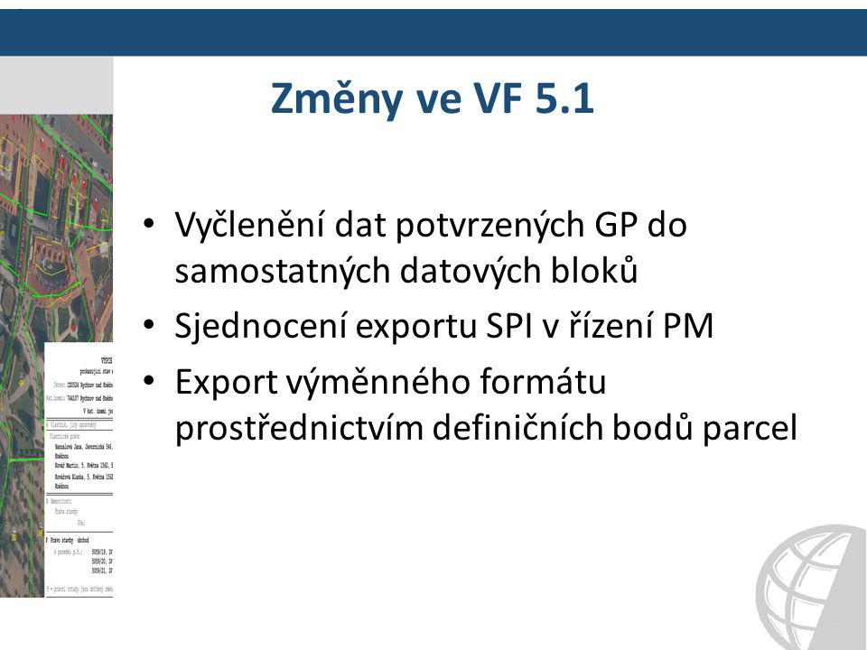 Změny ve VF 5.1 Vyčlenění dat potvrzených GP do samostatných datových bloků. Sjednocení exportu SPI v řízení PM.