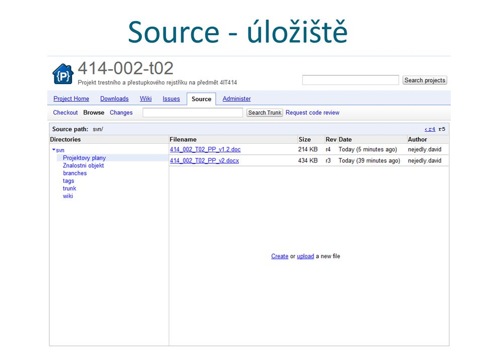 Source - úložiště