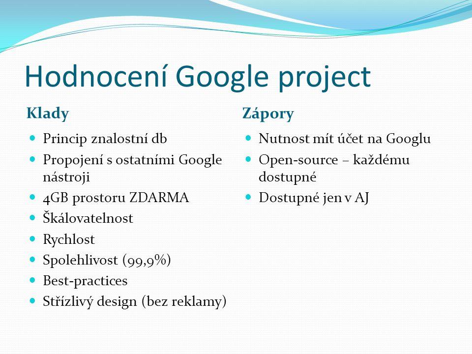 Hodnocení Google project