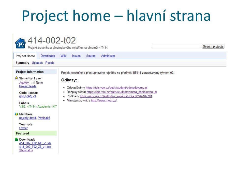 Project home – hlavní strana