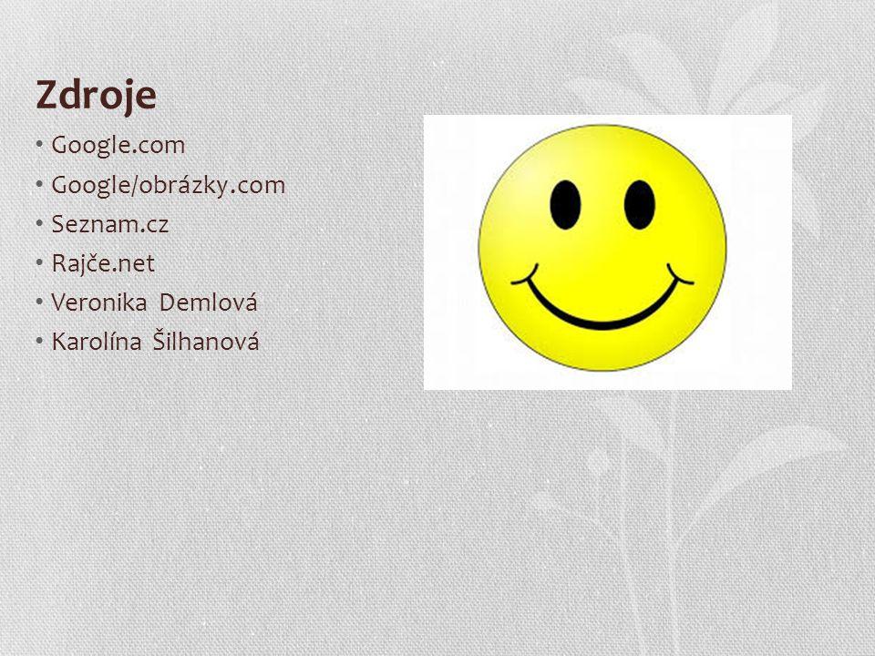 Zdroje Google.com Google/obrázky.com Seznam.cz Rajče.net