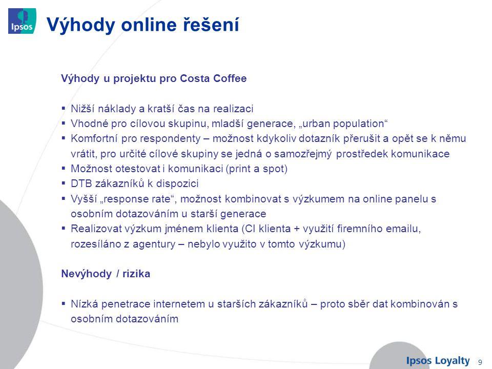 Výhody online řešení Výhody u projektu pro Costa Coffee