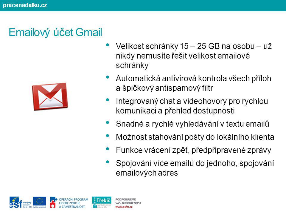 pracenadalku.cz Emailový účet Gmail. Velikost schránky 15 – 25 GB na osobu – už nikdy nemusíte řešit velikost emailové schránky.