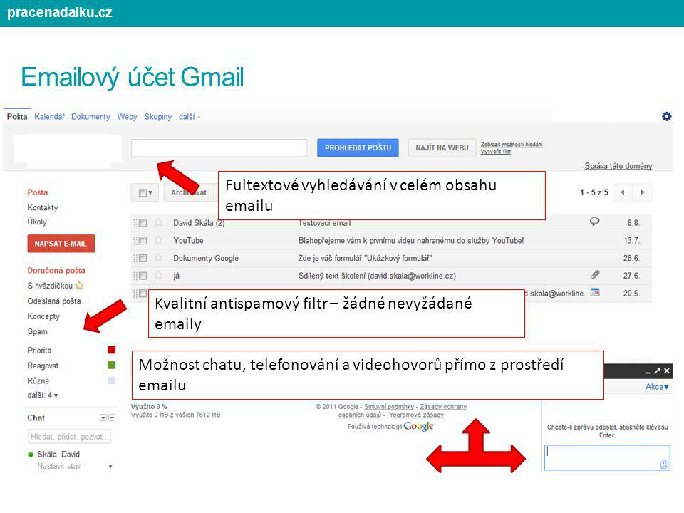 Emailový účet Gmail Fultextové vyhledávání v celém obsahu emailu