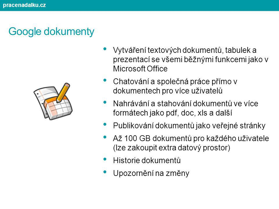 pracenadalku.cz Google dokumenty. Vytváření textových dokumentů, tabulek a prezentací se všemi běžnými funkcemi jako v Microsoft Office.