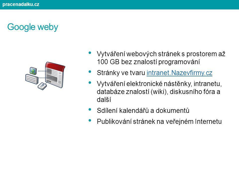pracenadalku.cz Google weby. Vytváření webových stránek s prostorem až 100 GB bez znalostí programování.