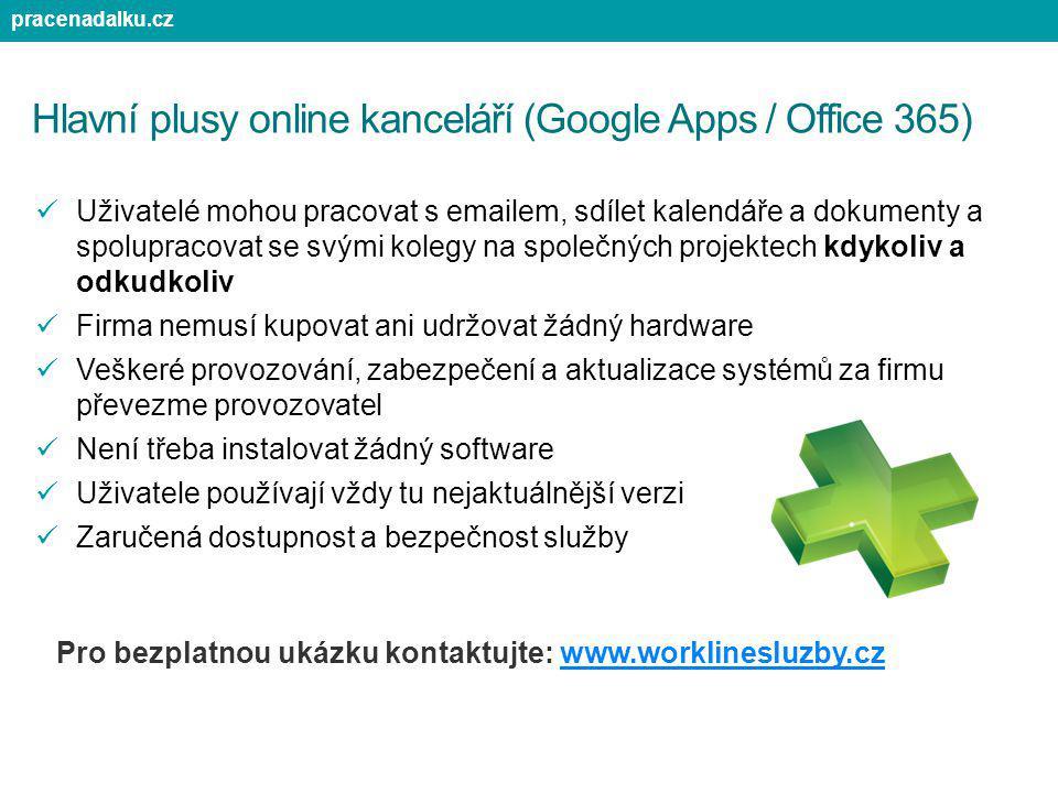 Hlavní plusy online kanceláří (Google Apps / Office 365)
