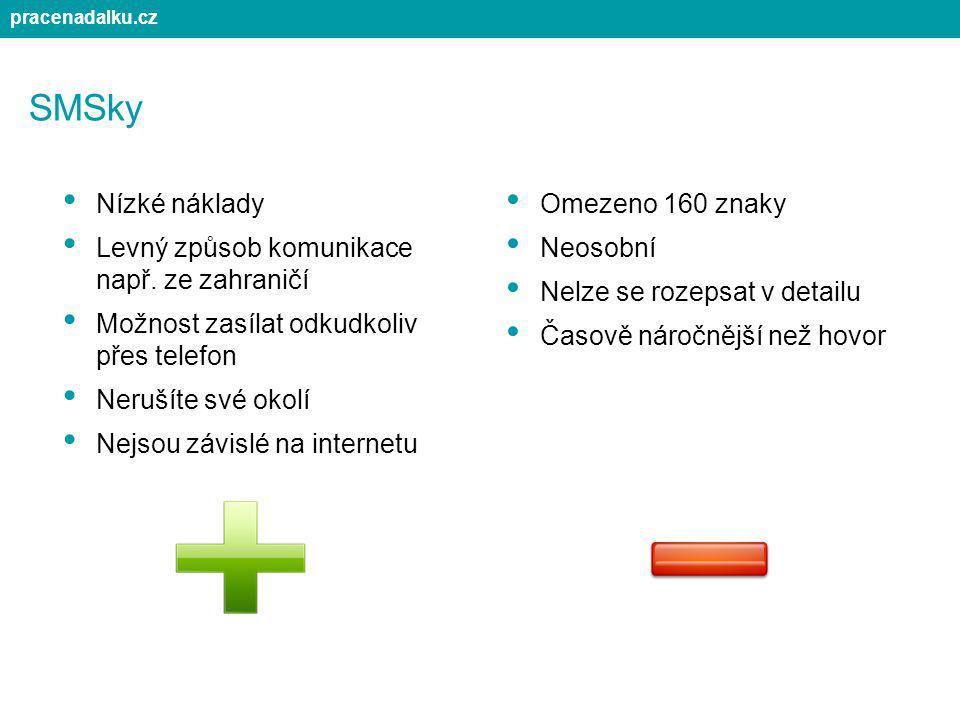 SMSky Nízké náklady Levný způsob komunikace např. ze zahraničí