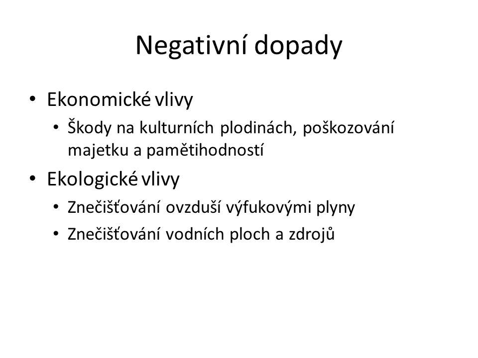Negativní dopady Ekonomické vlivy Ekologické vlivy
