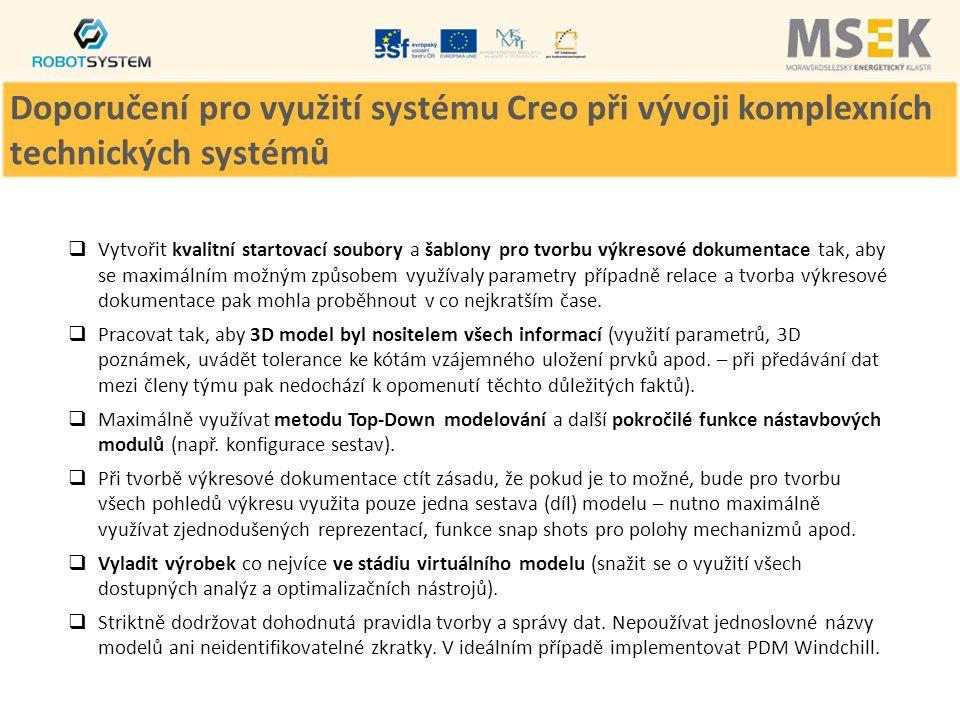 Doporučení pro využití systému Creo při vývoji komplexních technických systémů