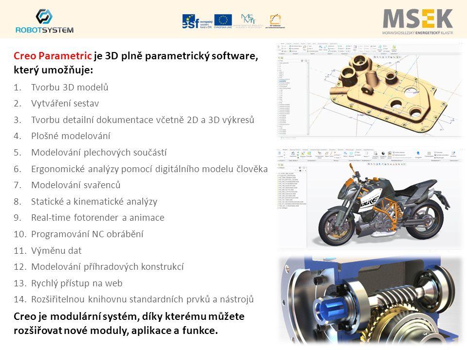 Creo Parametric je 3D plně parametrický software, který umožňuje: