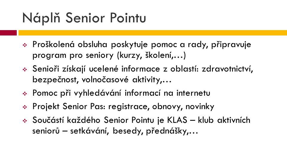 Náplň Senior Pointu Proškolená obsluha poskytuje pomoc a rady, připravuje program pro seniory (kurzy, školení,…)