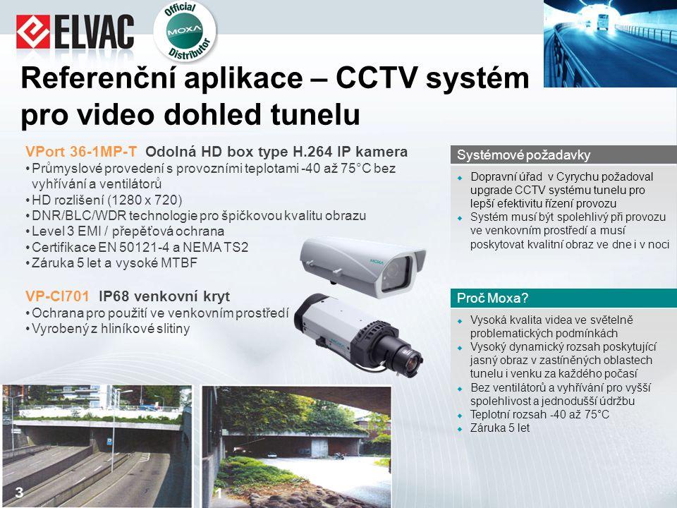 Referenční aplikace – CCTV systém pro video dohled tunelu