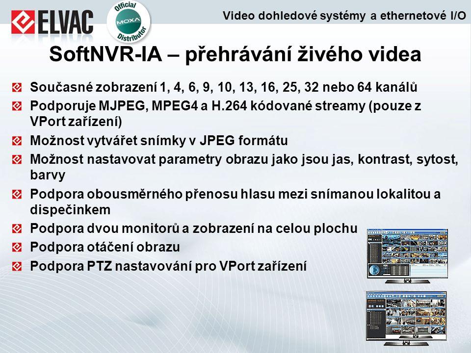 SoftNVR-IA – přehrávání živého videa