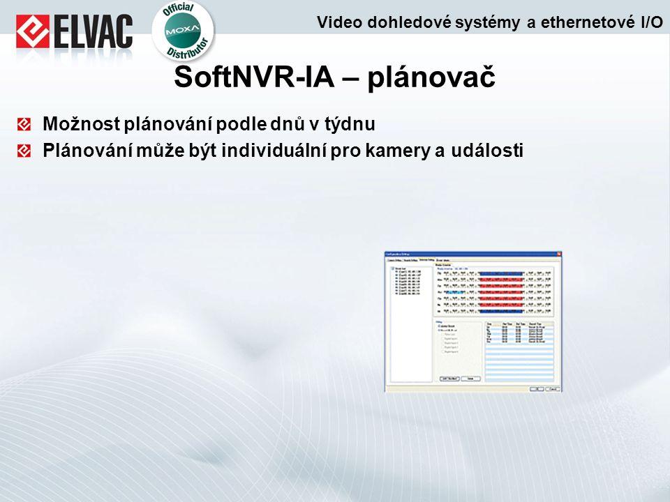 SoftNVR-IA – plánovač Možnost plánování podle dnů v týdnu