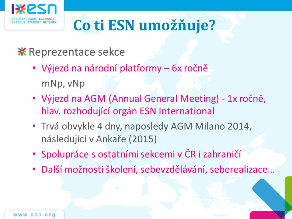 Co ti ESN umožňuje Reprezentace sekce