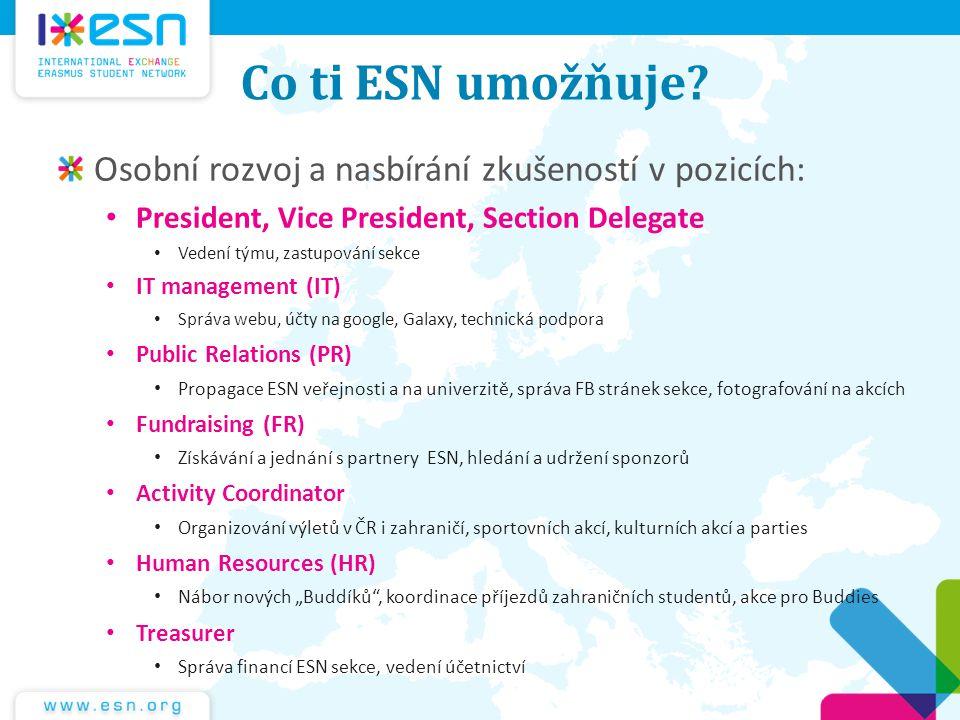 Co ti ESN umožňuje Osobní rozvoj a nasbírání zkušeností v pozicích: