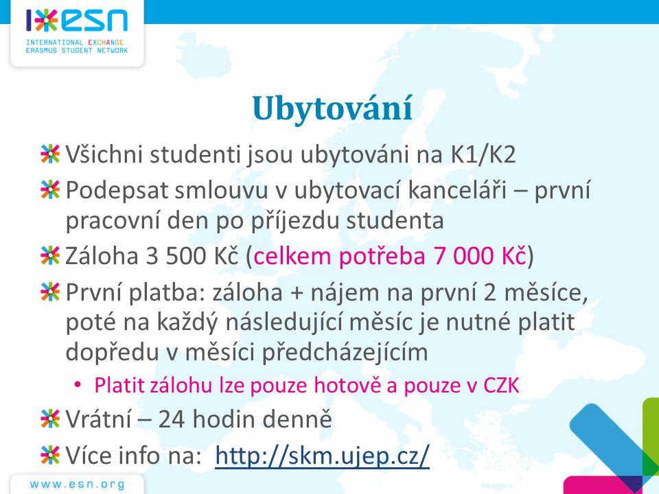 Ubytování Všichni studenti jsou ubytováni na K1/K2