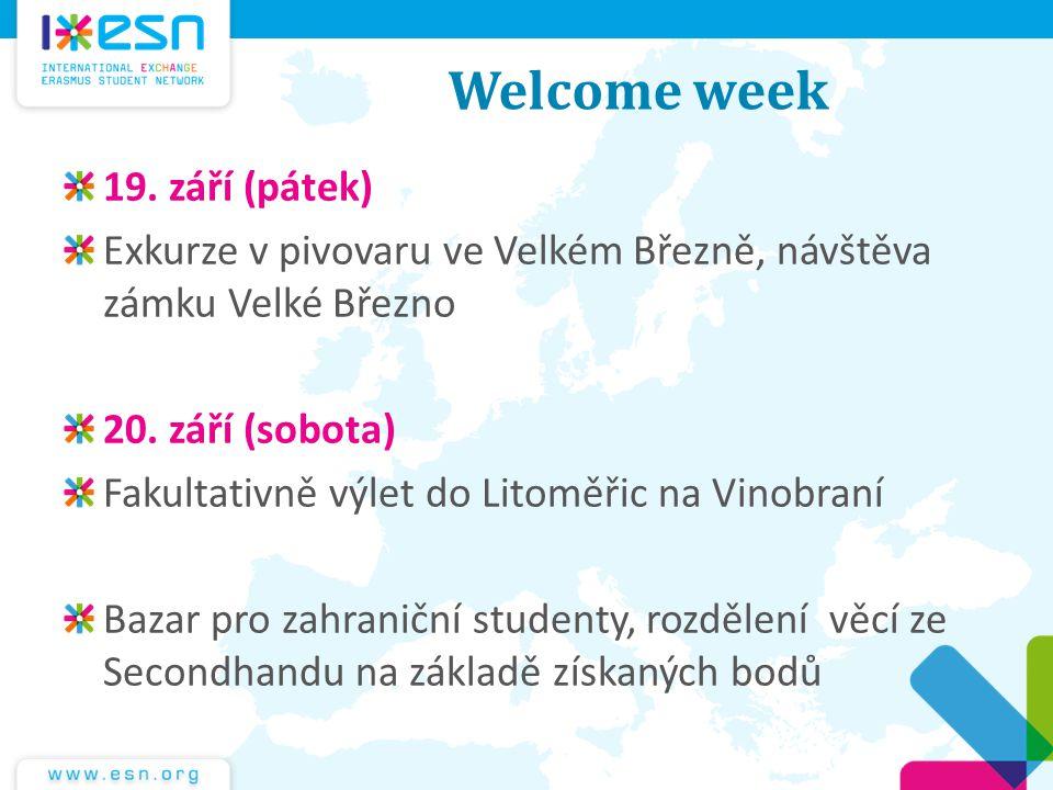 Welcome week 19. září (pátek)