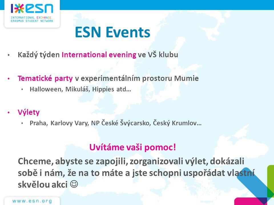 ESN Events Uvítáme vaši pomoc!