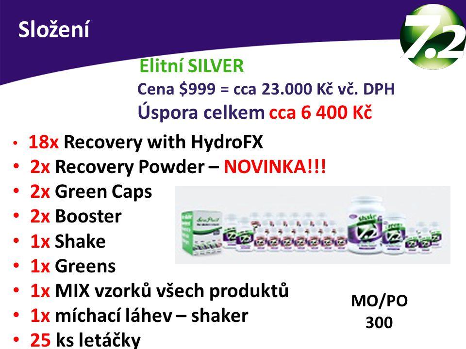 Složení Elitní SILVER 2x Recovery Powder – NOVINKA!!! 2x Green Caps
