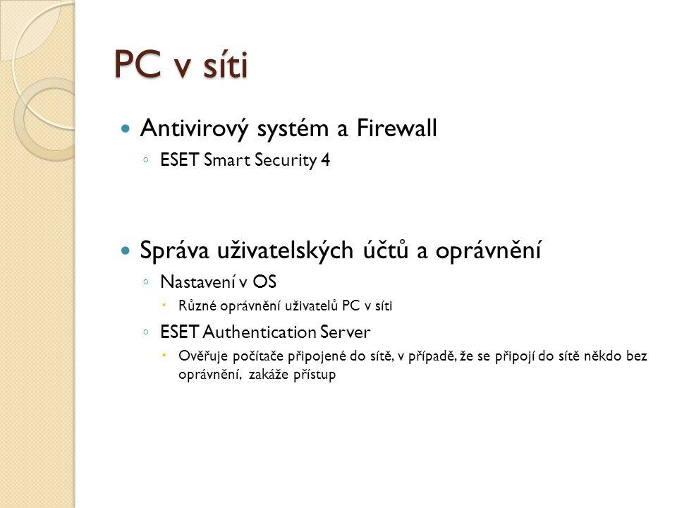 PC v síti Antivirový systém a Firewall