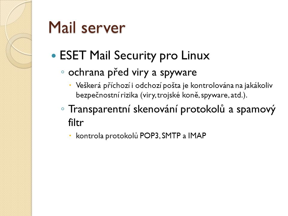 Mail server ESET Mail Security pro Linux ochrana před viry a spyware