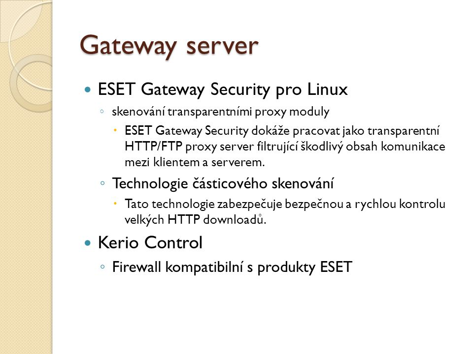 Gateway server ESET Gateway Security pro Linux Kerio Control