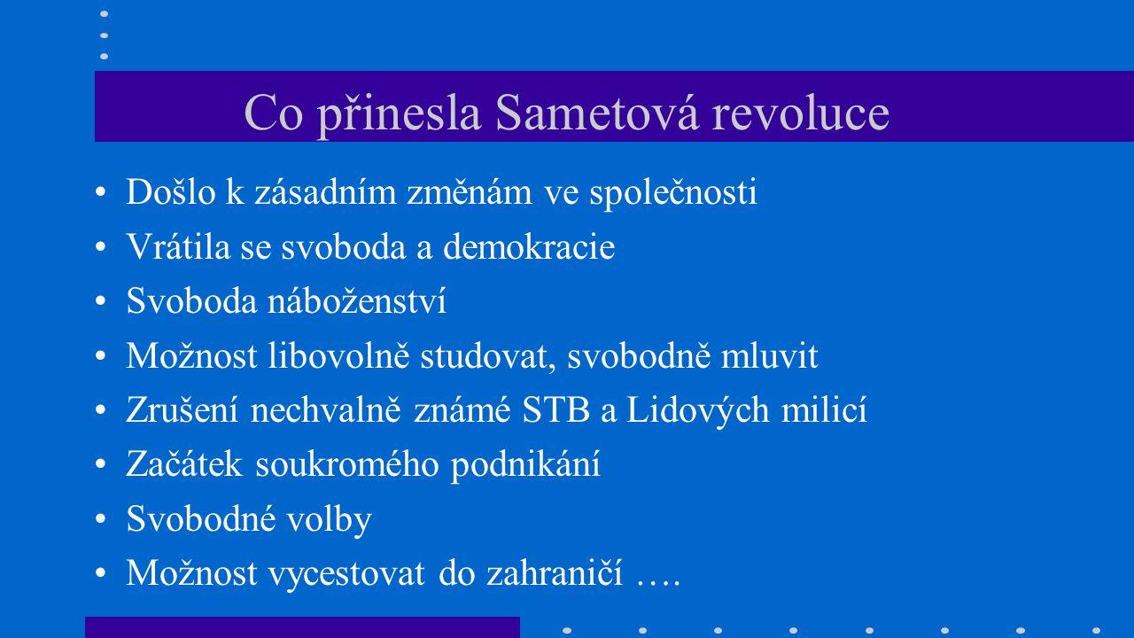 Co přinesla Sametová revoluce