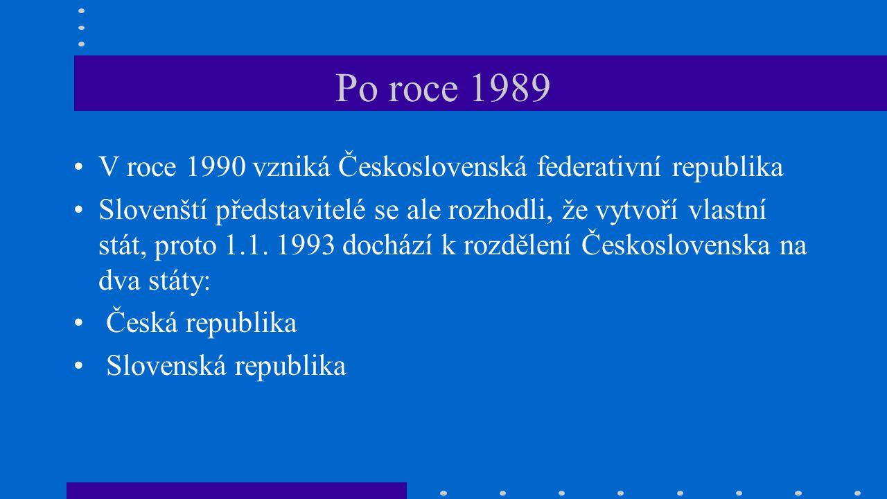Po roce 1989 V roce 1990 vzniká Československá federativní republika