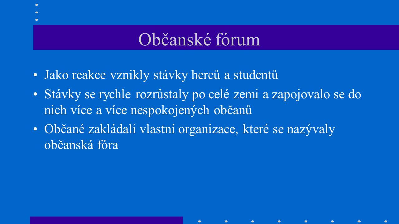 Občanské fórum Jako reakce vznikly stávky herců a studentů