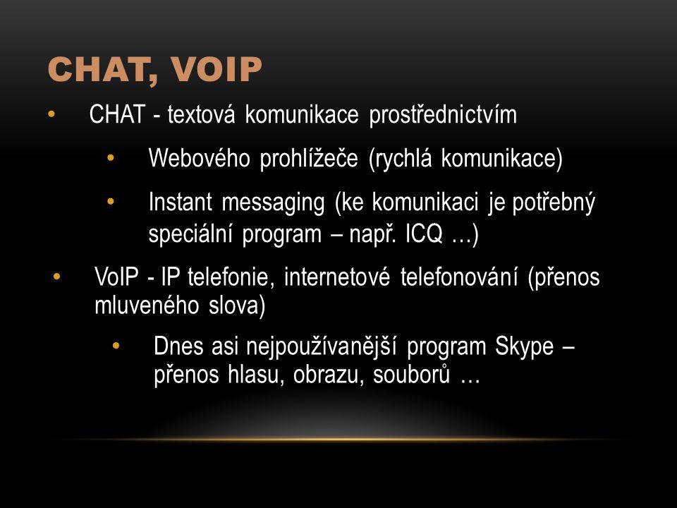 CHAT, VoIP CHAT - textová komunikace prostřednictvím