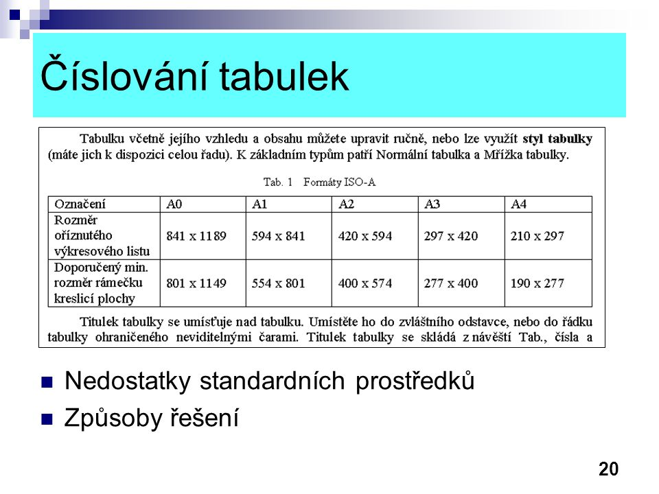 Číslování tabulek Nedostatky standardních prostředků Způsoby řešení