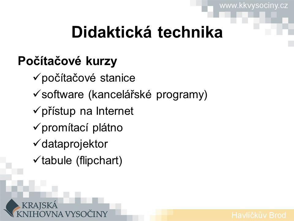 Didaktická technika Počítačové kurzy počítačové stanice
