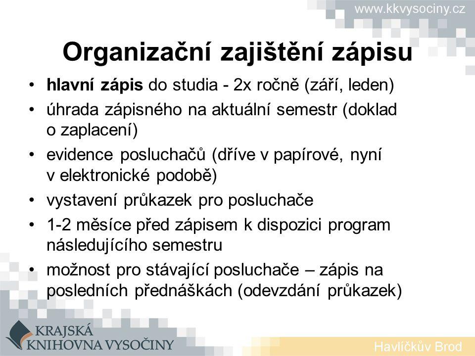 Organizační zajištění zápisu